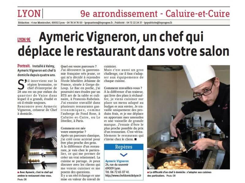 LE PROGRÈS PARLE D'AYMERIC VIGNERON